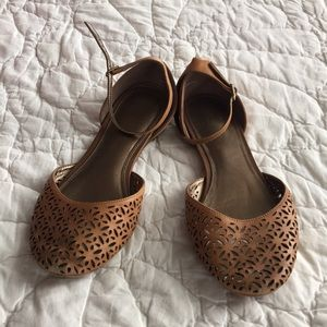 Shoes - Brown Patterned Flats with Ankle Strap